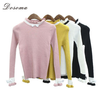 dosoma New ruffles Turtleneck Thicken Knitting Women knitting Sweater Pullover Stripe Sweaters Womens Basic Wear Winter bow tops