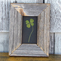 Four Leaf Clover in Handmade Reclaimed Barnboard and Upcycled Glass Wooden Frame