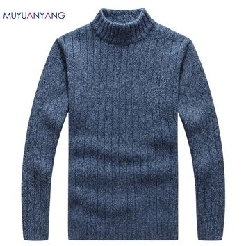 MuYuanYang Men's Pullovers Sweaters Autumn And Winter Slim Turtleneck For Man Classic Wool Knitwear Homme Clothes Striped