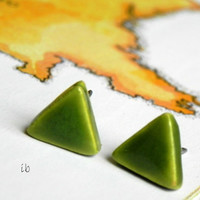 Forest Green Triangle Porcelain Stud Earrings Ceramic Post Earrings Geometric Pottery Hypoalergenic  Surgical Steel Post