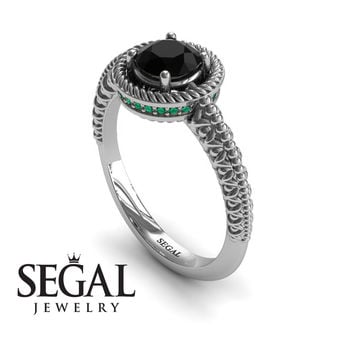 Unique Engagement Ring 14K White Gold Vintage Art Deco Victorian Ring Edwardian Ring Filigree Ring Black Diamond With Green Emerald - Penelope