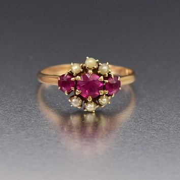 Superb 14K Gold Pearl and Ruby Antique Victorian Ring