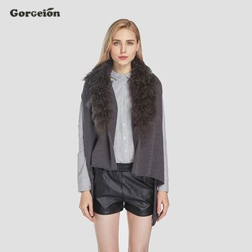 Gorgeion Sleeveless Fur Knitted Vest Real Mongolia Sheep Fur Collar Women Vest Jackets 2017 Winter Fashion Female Outwear ZC-15
