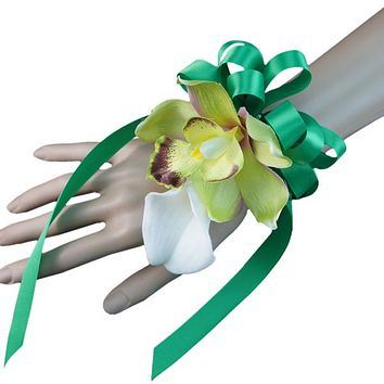 wrist Corsage-Calla lily orchid artificial flowers with Kelly green ribbon bow