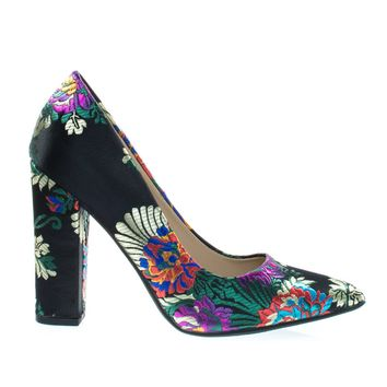 OgdenA Black Retro Block Heel Pump w Floral Stitching Embroidery Pattern & Pointed Toe