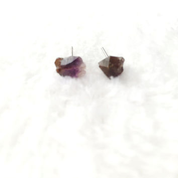 Raw Amethyst Earrings, Natural Crystal Stone Studs, Purple Gemstone, Rough, Nugget, Minimalist, February Birthstone, Surgical Steel Posts
