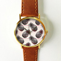 Tropical Fruit Pineapple Watch, Vintage Style Leather Watch, Women Watches, Boyfriend Watch, Black Pink Freeforme 2015