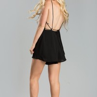 Emmy Black Backless Romper