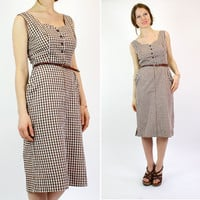 gingham wiggle dress S / brown checkered 1960s dress by OmniaVTG