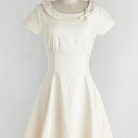 Mid-length Cap Sleeves A-line Tickling the Ivories Dress in Creme
