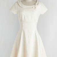 Mid-length Cap Sleeves A-line Tickling the Ivories Dress in Creme by ModCloth