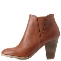 Chestnut Bamboo Side-Gored Chunky Heel Booties