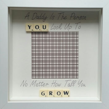 A daddy dad is the person you look up to no matter scrabble personalised handmade scrabble photo frame custom birthday fathers day gift