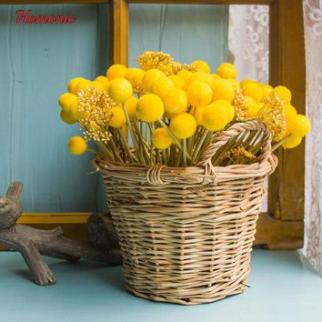 12 Branch Yellow diy styrofoam balls Hairy Globular Fruit Hand Tied Bouquet Accessories Artificial Flower ball centerpieces
