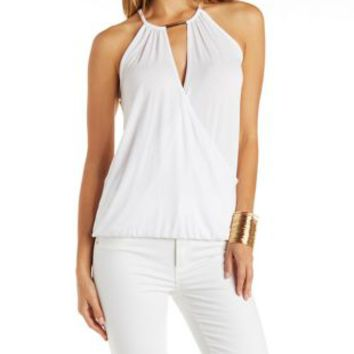 Bloused Surplice Neck Tank with Metallic Cut-Out