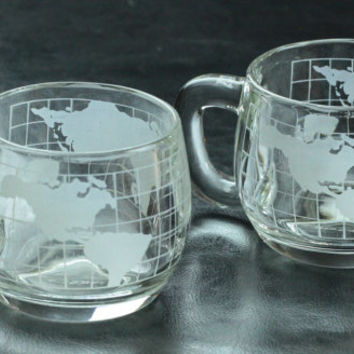 Nestle World Map Cup Set with Creamer and Sugar Bowl with Lid