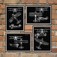 Set of 4 prints, 5 Colors Background, Biplanes prints Schematic Print, Gloster-Gladiator, Heinkel, Kawasaki, Vought, Airplanes print *12*