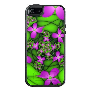 Modern Abstract Neon Pink Green Fractal Flowers OtterBox iPhone 5/5s/SE Case