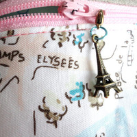 Paris Map Linen Boxy Bag Large w/ Eiffel Tower Zipper Pull by handmadephilosophy
