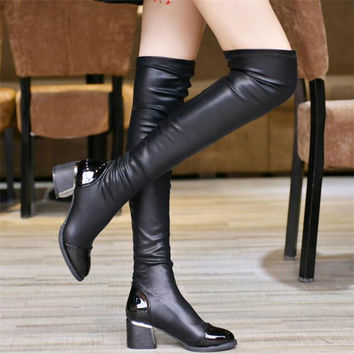 PU Leather Over Knee Boots Women Sequined Toe Elastic Stretch Thick Heel Thigh High Riding Boots