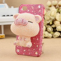 Handmade  Phone case for Samsung i9100 Galaxy S2 SII Charms Blingbling 3D Effect rhinestone Crystal Lovely Pig