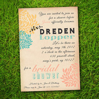 Vintage Flowers Coral Yellow Turquoise Customizable Classic Bridal Shower Invitation Card - DIY Printable