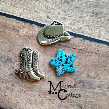 magnet, cowboy, cowgirl, cowboy boot, western, cowboy hat, star, turquoise, fridge magnet, locker,  filing cabinet, birthday gift