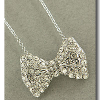 Crystal Bow Necklace from P.S. I Love You More Boutique