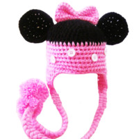 Kutsie Baby Pink & Black Crochet Mouse Hat