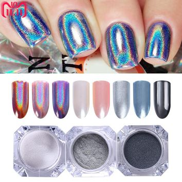 3 Bottles/set Nail Powder Glitter Dust Silver Mirror Neon Holo Mermaid Sparkly Chrome Pigment Nail Art Manicure DIY