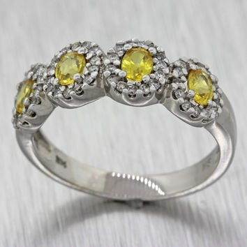 EFFY 14k White Gold .50ctw Diamond .70ctw Yellow Sapphire Band Designer Ring