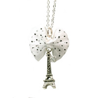 Eiffel Tower Pendant Necklace - Cute miniature black and white polka dot bow and Swarovski crystal accent Kawaii Paris France French jewlery