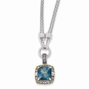 14K Two-Tone Gold Sterling Silver w/14K London Blue Topaz and Diamond 1in. Ext. Necklace