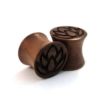 "Lotus Walnut Wooden Plugs 2g (6mm) through 1 3/4"" (44mm) including 0g (8mm) 00g (9mm) (10mm) 7/16"" 1/2"" 9/16"" 5/8"" 3/4"" 7/8"" wood ear gauges"