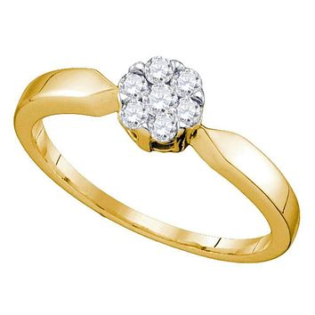 10k Gold Flower Cluster Diamond Women's Bridal Ring - FREE Shipping (US/CA)