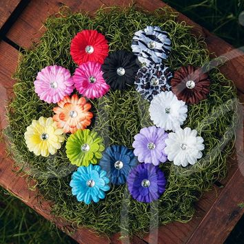 Small Bright and Colorful Gerber Daisy Flower Hair Clips