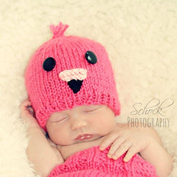 Pink Flamingo Baby Hat & Diaper Cover Set • Flamingo Newborn Set • Baby Shower Gift • Photo Prop • Baby Hat • Newborn Hat • Flamingo Outfit