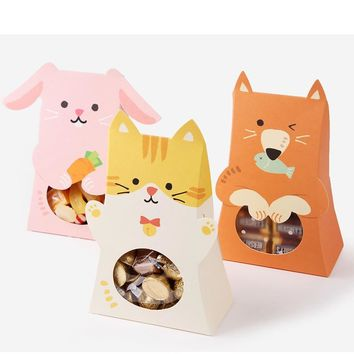 candy boxes,animal gift box,woodland friend,cookie gift box,birthday favor box 30pcs/lot