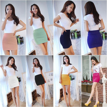 Womens Sexy Mini Skirt Girls Slim Seamless Stretch Tight Short Fitted Skirt New = 1945882756