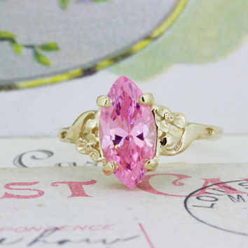 Vintage Pink and Gold Ring | 10k Yellow Gold Gemstone Ring | Navette Cocktail Ring | Flower Blossom Promise Ring | 1980s Jewelry | Size 6.5