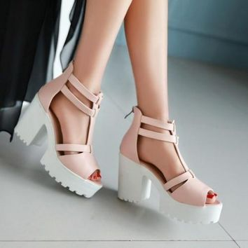 2015 Fatory Discount fish mouth open toe sandals with thick waterproof women party san