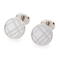 Round Check Cuff Links, Silver - Burberry
