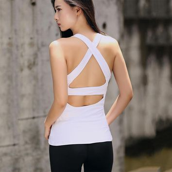 2018 Summer Sexy Cross Harness Women Tank Tops Female Dry Quick Loose Fitness Vest Singlet For Exercise Women's Workout T-Shirts