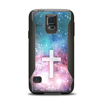The Vector White Cross v2 over Colorful Neon Space Nebula Samsung Galaxy S5 Otterbox Commuter Case Skin Set