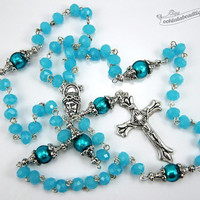 Turquoise Rosary confirmation gift catholic rosary girls rosaries blue rosary communion rosaries baptism rosary boys rosaries ladies rosary