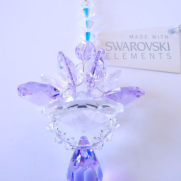 m/w Swarovski Crystal SunCatcher New Design Violet with Auror Borealis Lotus Blossom Drop Lilli Heart Designs