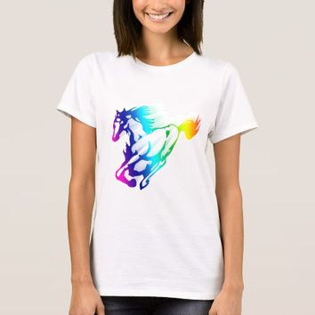Running Rainbow Horse With Motion Trail T-Shirt
