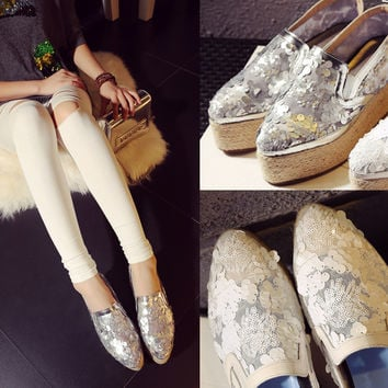 Flat Leather Thick Crust Lace Hollow Out Shoes [4920564996]