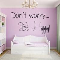 Wall Decals Vinyl Decal Sticker Home Interior Design Art Mural Life Quote Don't Worry Be Happy Wording Kids Nursery Baby Room Decor KT73