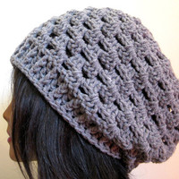 Slouchy Hat Gray Lacy Slouch Oversize Crochet Grey Womens Beanie